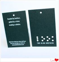 Direct factory low price custom made UV printing black card hang tag