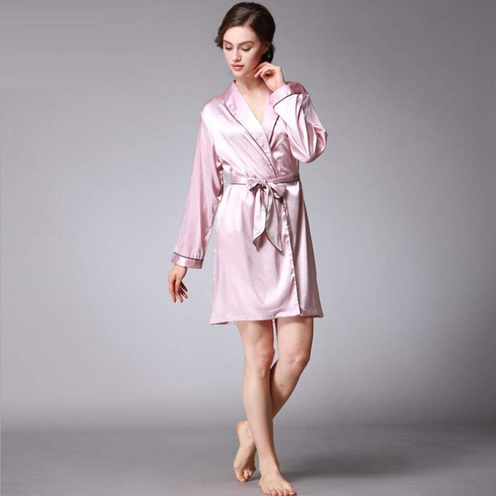 bbbcc13eb1 Get Quotations · ALJL Luxury new silk women pajamas sexy gowns long sleeves  bathrobes loose and comfortable Pink bathrobe
