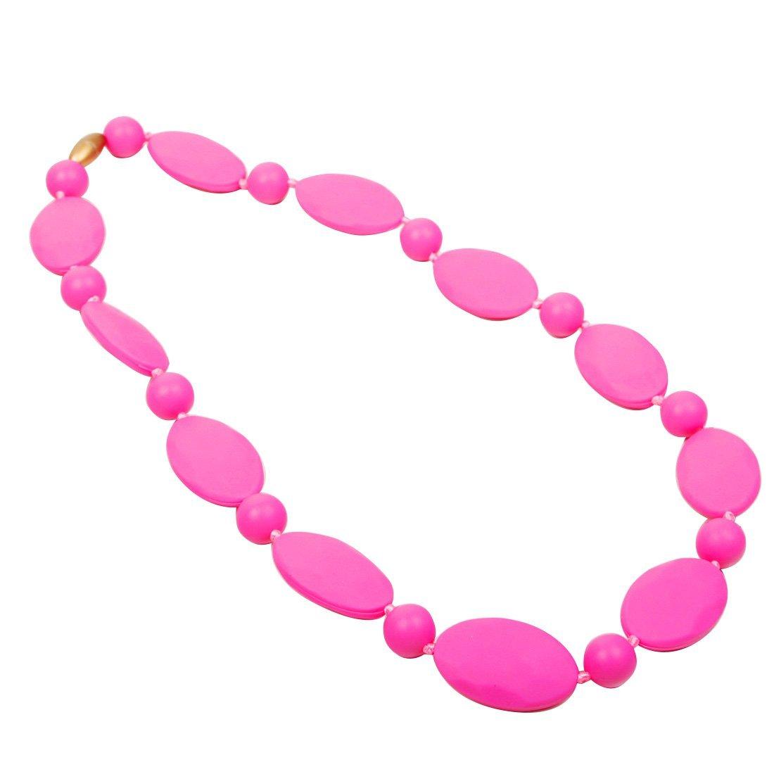 JET-BOND FS11-2 Silicone Chew Teething Necklace for Mom to Wear Nursing  Baby Toddles Bite Jewelry Fushia Gem Stone Toxic-Free(2707 pink stone)