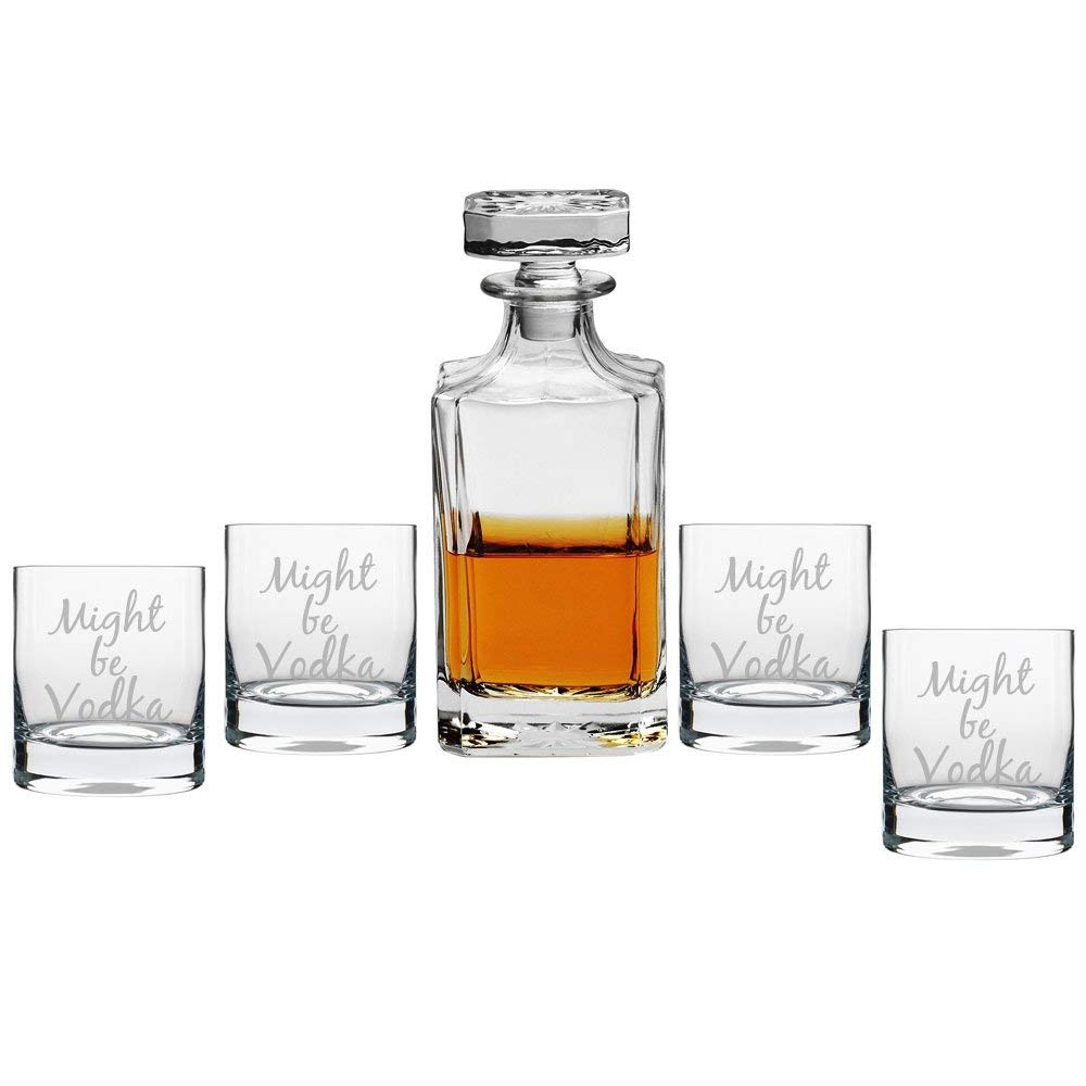 Might Be Vodka Decanter with Engraved Rocks Glasses, Set of 5