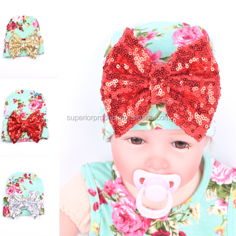 Wholesale Newborn Knit Hat Floral Big Sequin Bow Baby Hat Infant Toddlers Soft Cotton Caps With Sequin Bow Baby Accessory