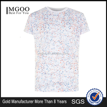 Wholesale OEM Services Mens Tops Shirt Star Print Sublimation Slim White T Shirts