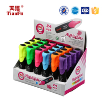 Promotional 24 pcs 12-PK Solid Fluorescent Pen, 3 in 1 Highlighter Pen