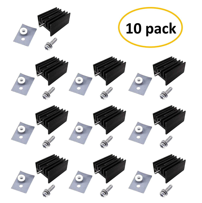 Easycargo 10 packs TO-220 Heatsink + Insulator/Mounting kits (Screw+Washer+Bushing+Insulator rubberized Silicone+ Heatsink TO-220) for LM78XX voltage regulator, IRFXX MOSFET transistor(20mmx15mmx11mm)