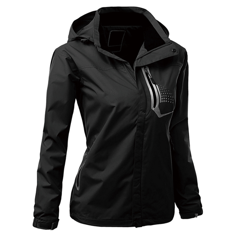 Casual Style Lightweight Womens Windbreaker Jacket With Hood