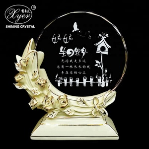 Wholesale new products crystal trophy with special flower base for crystal trophy souvenir