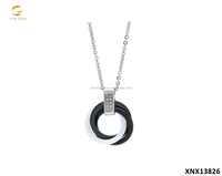 925 Sterling Silver Black And White Ceramic Cubic Zirconia Necklace Latest Fashion Jewellery