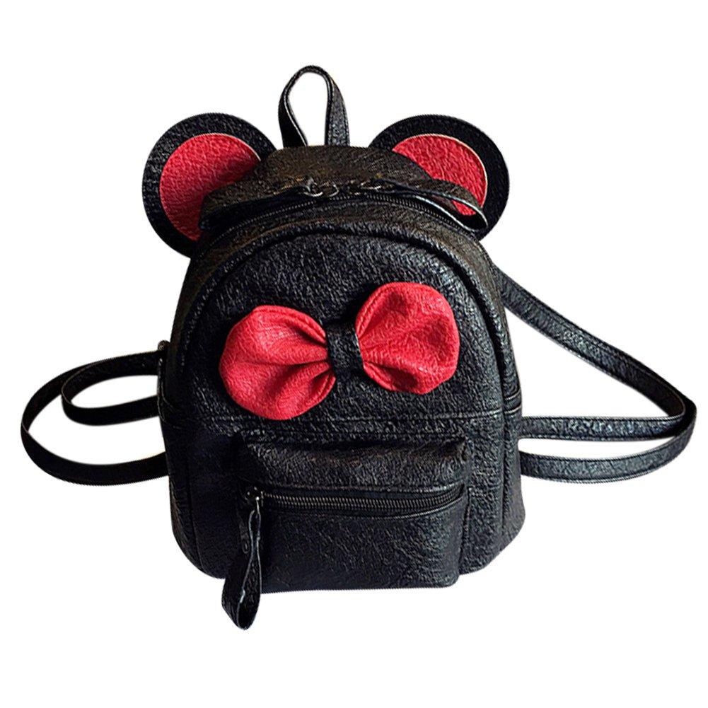 962baa690525 Cute Bowknot Leather Daypack Kids Girls Mini Backpack Shoulder Bag Schoolbag
