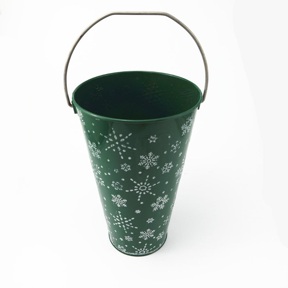 Metal galvanized christmas snowflake Iron bucket vase