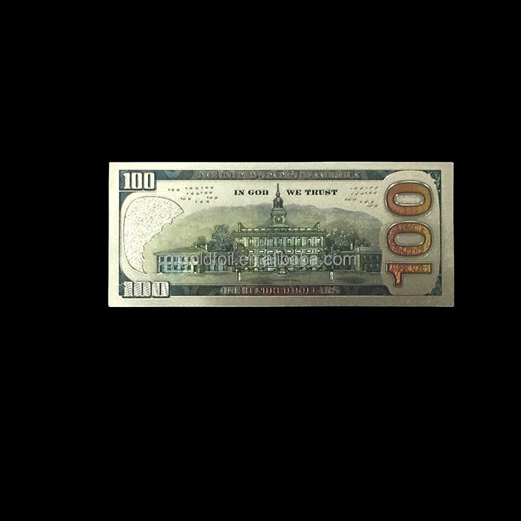 China good quality new design 100 us dollar silver foil banknotes