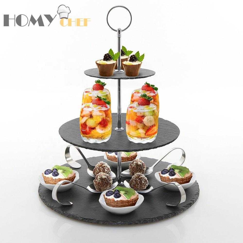 Chinese round slate cake natural stand