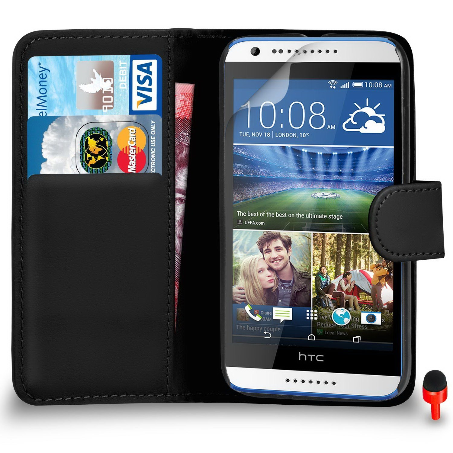 HTC Desire 620 Premium Leather Black Wallet Flip Case Cover Pouch + Screen Protector & Polishing Cloth SVL0 BY SHUKAN®, (WALLET BLACK)