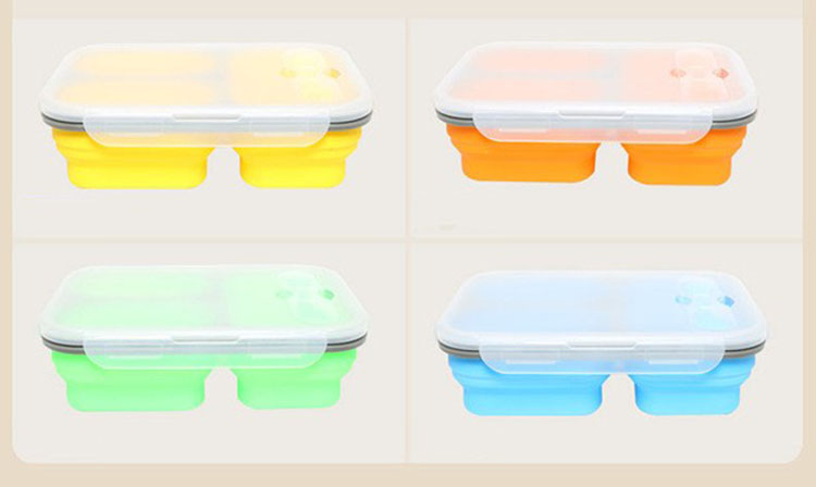 Three Lattice Silicone Fold Microwave Oven Outdoors Portable Dinnerware Heating And Insulation Lunch Box