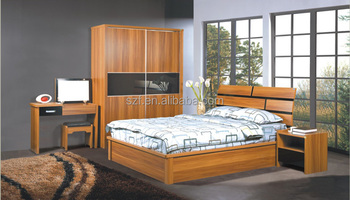 china fabrikant effen teak hout slaapkamer meubilair set met nachtkastje bed en kaptafel sz