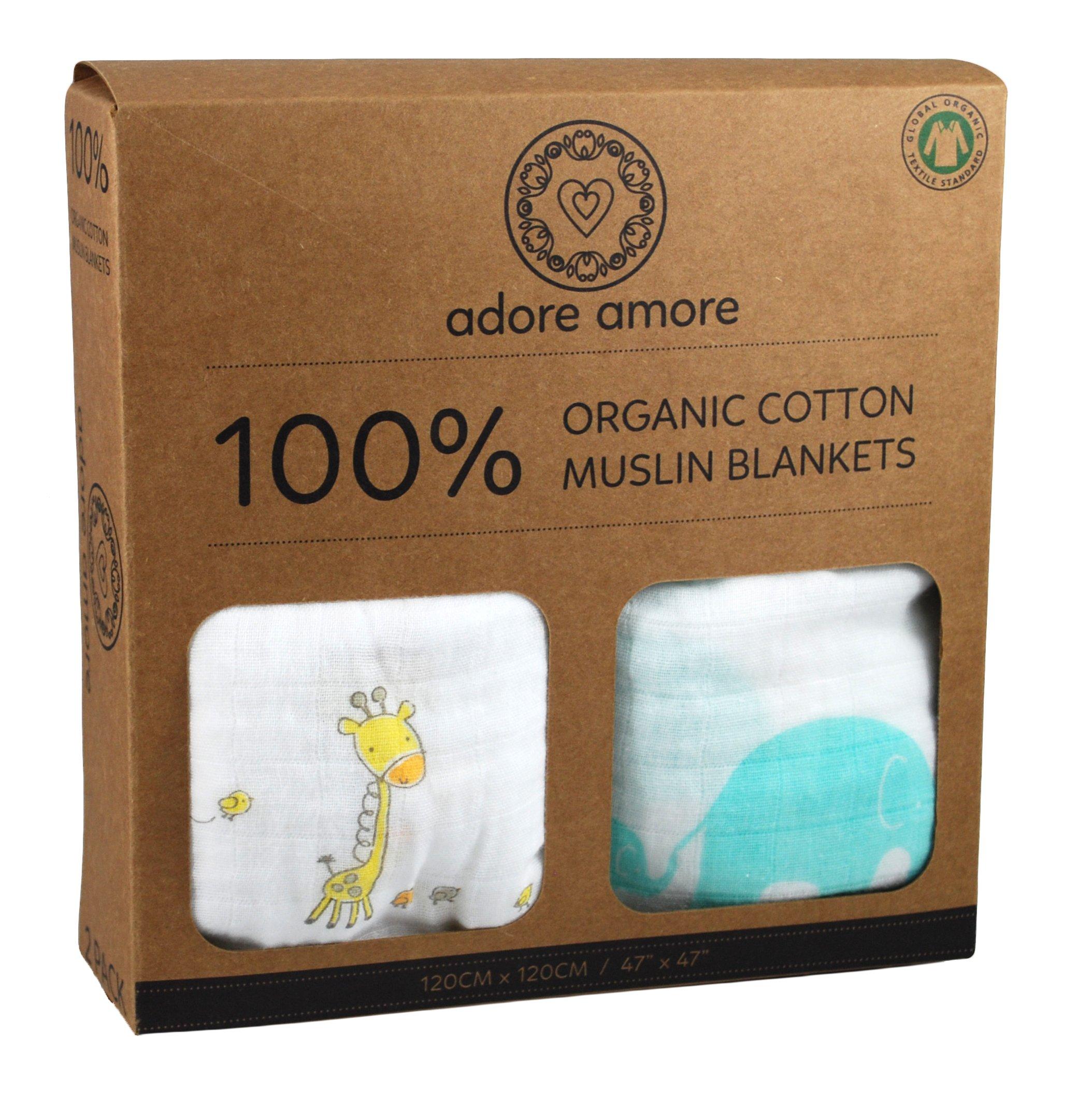 "Adore Amore | 2-Pack Organic Cotton Muslin Swaddle Blankets | Baby Shower Gift Set Boy Girl | Crib Stroller Receiving | Soft Natural Newborn Unisex | X Large Wrap 47"" x 47"" | Elephant & Giraffe"