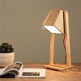 Injuicy Lighting Nordic E27 LED Wood Timber Table Desk Lamp Light Home Bedroom Sanctum Decor Gift (#A)
