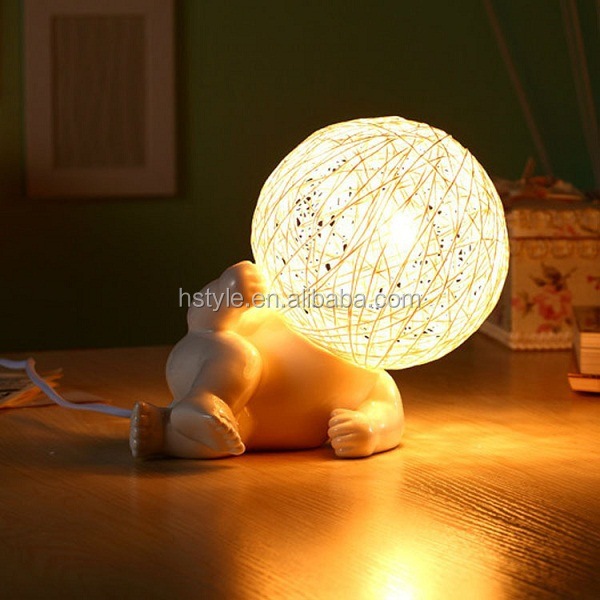 New Modern Unique Big Head Ceramic Figure Actions Table Lamps 220V Kids Night Light for Bedroom Living Room Free shipping SNL079