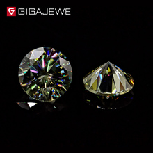 GIGAJEWE Green Color Round Brilliant Shape Moissanite Beads Wholesale Synthetic Loose gemstone diamond jewelry beads