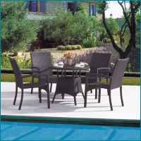 Outdoor garden PE rattan wicker round dining table and chairs set JJ-031TC