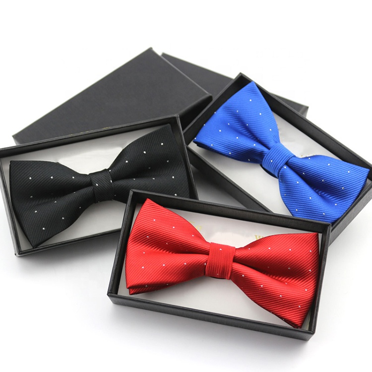 Custom Polyester Woven Necktie Set Men Suit Bowtie Hanky Neck Tie Set