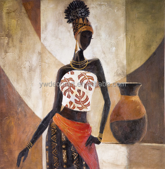 Framed african portrait oil painting for Lobby