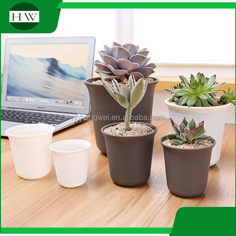 wholesale cheap round cup shape resin plastic garden flower pot