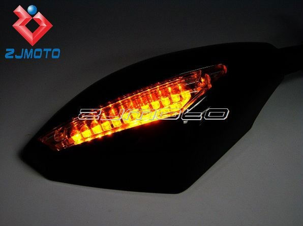 Universal Motorcycle Carbon Snakeskin Mirrors With LED Turn Signals Integrated For All Street Bike Including 1098