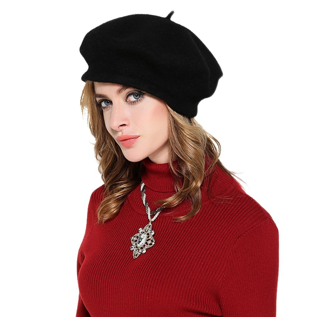 91c6a705ff10b Womens 100% Wool Beret Cap Classic French Artist Basque Beret Tam Solid  Color Winter Warm