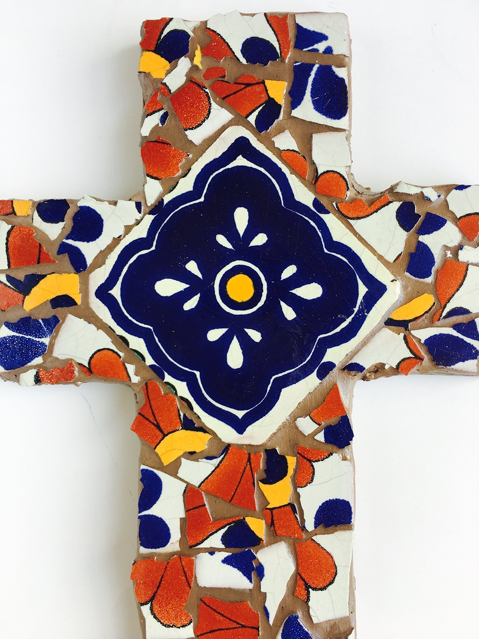 Mexican Tile Talavera Mosaic Wall Cross 9 inch X 6 inch Blue Red White and Yellow Mexican Ceramic tile,