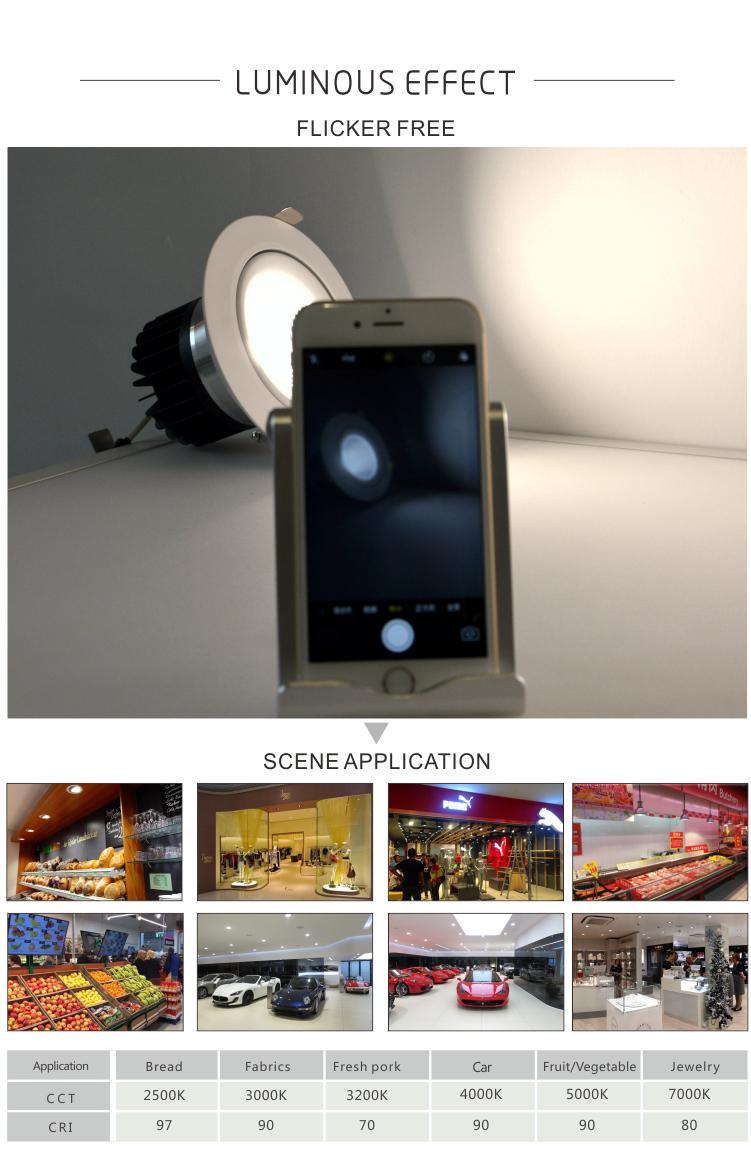Flicker free 30W (6W-80W) CRI80/90/97 anti-glare 5 years warranty COB LED downlights