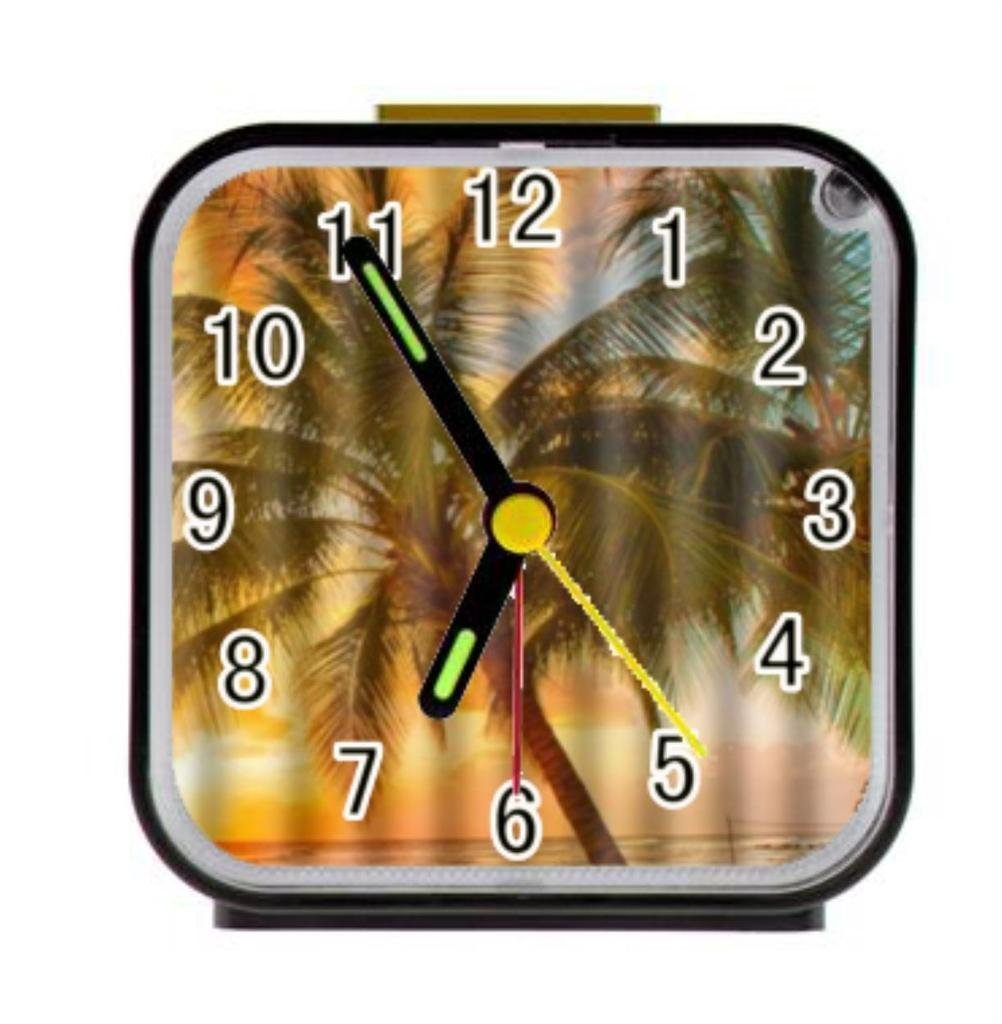 Unique Custom Hawaii Summer Beach Palm Tree Sunset Scenery Custom Square Alarm Clock Diy Clocks Home Decor