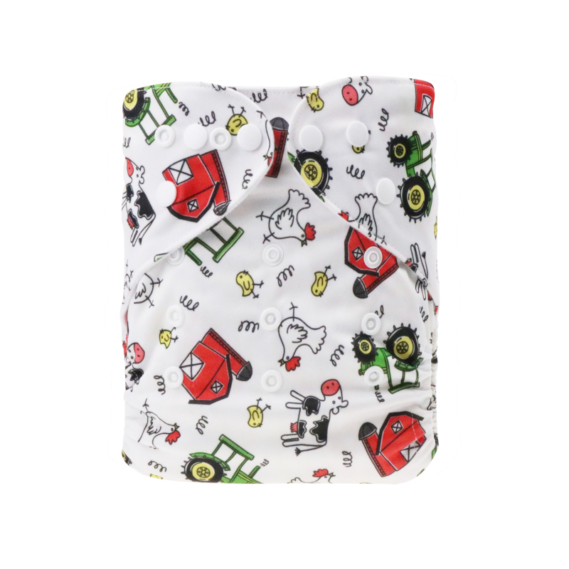 China manufacturer Baby cloth double row buttons diapers adjustable washable&reusable printing farm patterns baby products