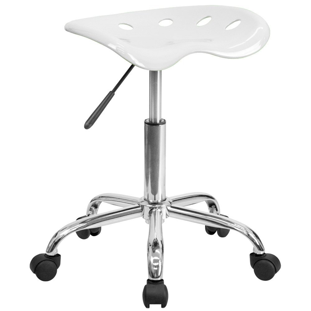 White Office Stool with Tractor Seat and Chrome Frame