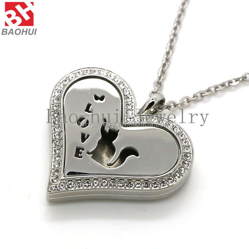 New Heart Shape Silver Kitty Love 36*32MM Stainless Steel Aromatherapy / Essential Oils Diffuser Locket Pendant With Crystal