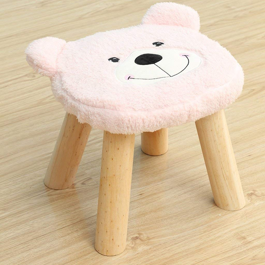 Duzhengzhou Cute Cartoon Foot Stool Square Shape, 4 leg Stands, Washable Cushion (Bear) (Color : Pink)