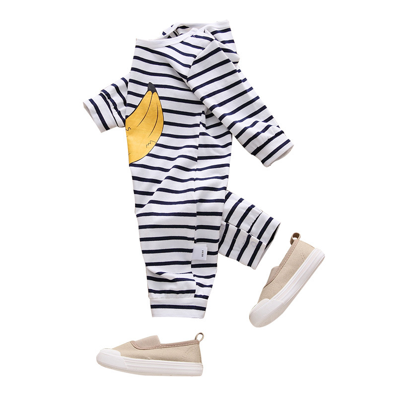 Wholesale children clothes 0-12M stripped banana pattern baby boys climb clothes