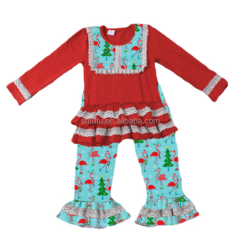 d2cf5ea11819a red top lace ruffles cute christmas flamingo print children girls kids  matching clothing sets
