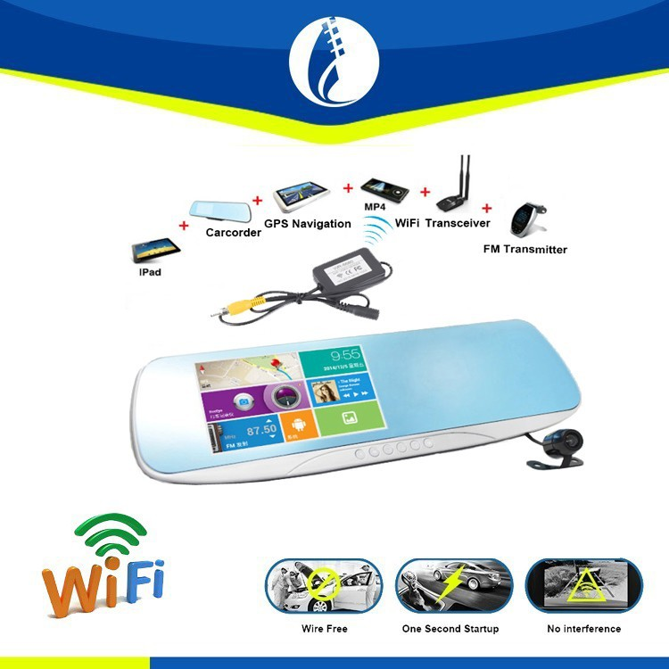 WiFi Wireless 5 inch Android System HD Dash Camera Rear View Mirror Car tv with GPS Night Vision