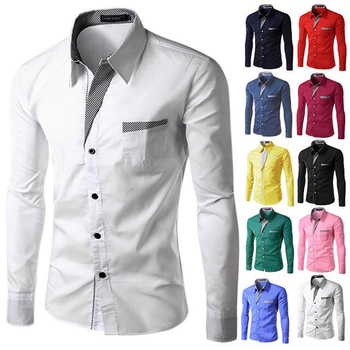 contrast color collar and pocket man slim fit plus size dress shirts design