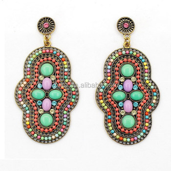 Handmade Colorful Nature Stone Mexican Earrings Traditional Jewelry