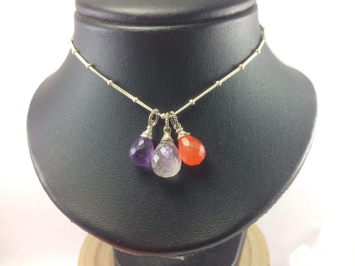 "Carnelian Pendant Necklace,Amethyst Pendant Necklace,Black Rutilated Quartz Pendant Necklace,Satellite chain necklace,925 Sterling Silver Chain Extender 1 inch,Size 14"",16"",18"""