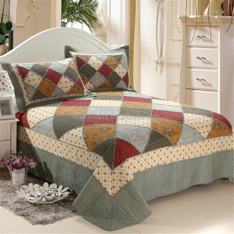 King 3pcs bedspread sand wash patchwork 100% cotton printed quilt
