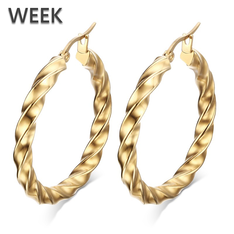 WEEK Hot Gold Twisted Stainless Steel Chunky Big Round Hoop Earrings Women