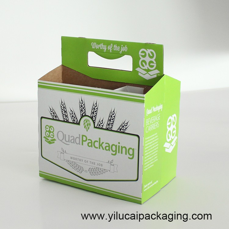 Yilucai custom printed kraft paper 6 pack beer bottle holder factory