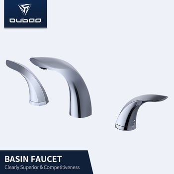 Widespread dual handle polished chrome brass mixer basin faucet