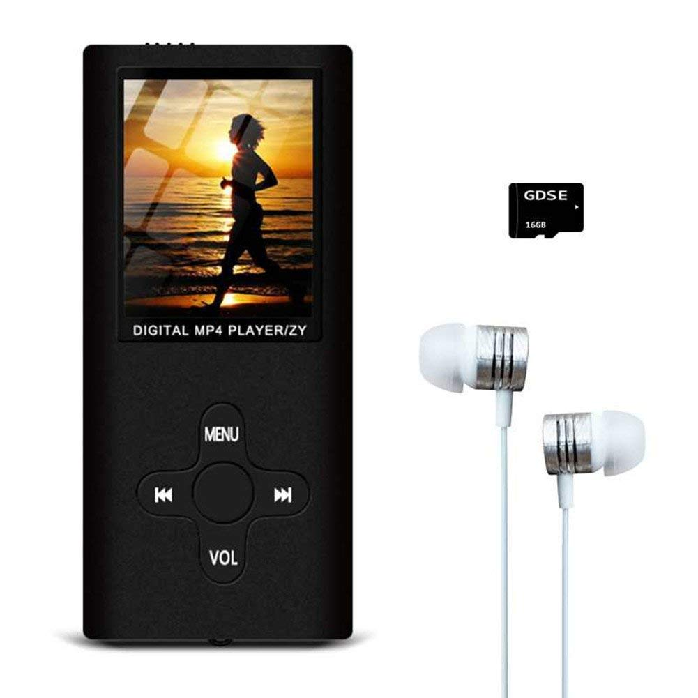 MP3/MP4 Music Player with FM Radio/Video Player/Voice Recorder/E-Book Reader, Compact and Portable Hey-Elecs MP3/MP4 Player, Including a 16GB Micro SD Card, Ultra Slim 1.8in LCD Screen - (Black)