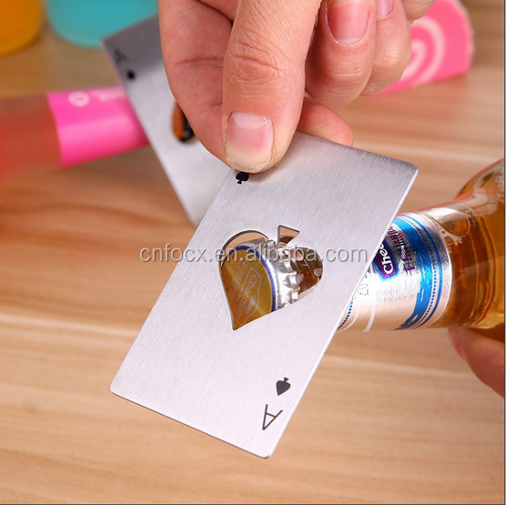 Spades Ace Shape Bottle Opener / Stainless Steel Poker Card bottle opener