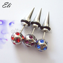 316L Surgical Stainless Steel Fake Taper W/ Jewel Paved Ball