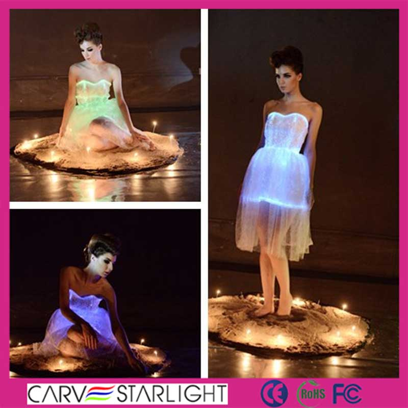 led lighting fiber optics fabric white lace knee length prom dress