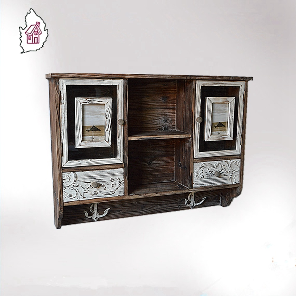 2016 Antique Wooden Kitchen Wall Hanging Cabinet Design With Frames Drawers  And Hooks